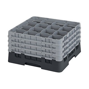 "Cambro 16S900110 - Glass Rack, with (4) extenders, 19-3/4"" x 19-3/4"" x 10-1/2"", (16) compartments, black, (Case of 2)"