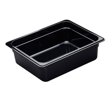 "Cambro 24HP110 - High Heat Food Pan, 1/2 size, 4"" deep, black, (Case of 6)"