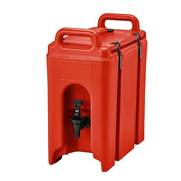 "Cambro 250LCD158 - Beverage Carrier, 2-1/2 gallon, 9""W x 16""D x 18""H, insulated plastic, hot red"