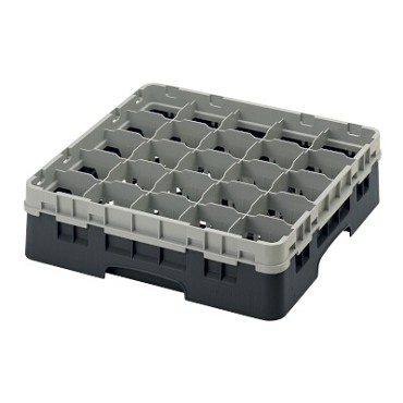 "Cambro 25S418110 - Glass Rack, with extender, 19-3/4"" x 19-3/4"" x 5-5/8"", (25) compartments, black, (Case of 5)"