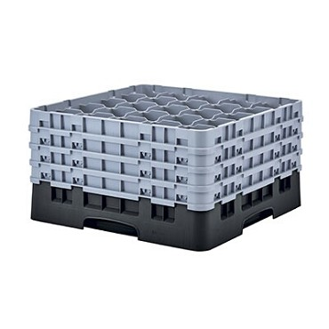 "Cambro 25S900110 - Glass Rack, with (4) extenders, 19-3/4"" x 19-3/4"" x 10-1/2"", (25) compartments, black, (Case of 2)"
