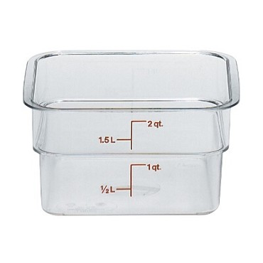 "Cambro 2SFSCW135 - Food Container, 2 qt., 7""L x 7""W x 3""H, red graduation, clear, (Case of 6)"
