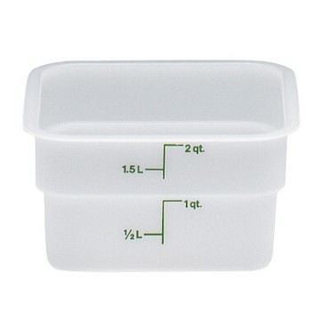 "Cambro 2SFSP148 - Food Container, 2 qt., 7""L x 7""W x 3""H, green graduation, natural white"