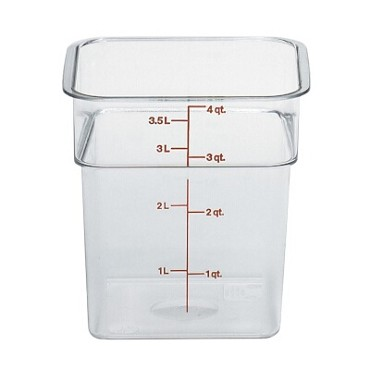 "Cambro 4SFSCW135 - Food Container, 4 qt., 7""L x 7""W x 7""H, red graduation, clear"