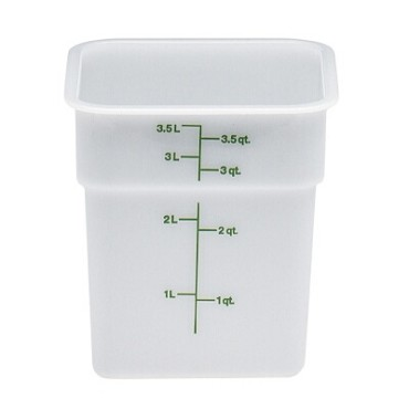 "Cambro 4SFSP148 - Food Container, 4 qt., 7""L x 7""W x 7""H, green graduation, natural white"