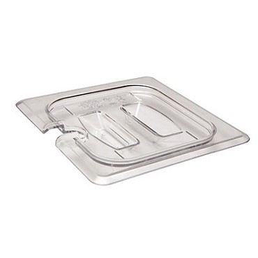 Cambro 60CWCHN135 - Food Pan Cover, 1/6 size, notched, with handle, clear