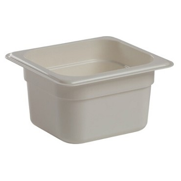 "Cambro 64CW148 - Food Pan, 1.6 qt. capacity, 4"" deep, 1/6 size, polycarbonate, white, (Case of 6)"