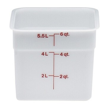 "Cambro 6SFSP148 - Food Container, 6 qt., 8""L x 8""W x 7""H, red graduation, natural white, (Case of 6)"