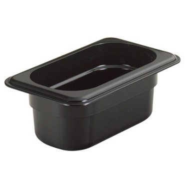 "Cambro 92CW110 - Food Pan, .6 qt. capacity, 2-1/2"" deep, 1/9 size, polycarbonate, black, (Case of 6)"