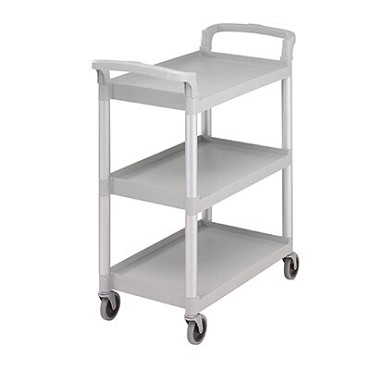 Cambro BC331KD480 - Service Cart, open design, (3) shelves, 300 lb. capacity, speckled gray