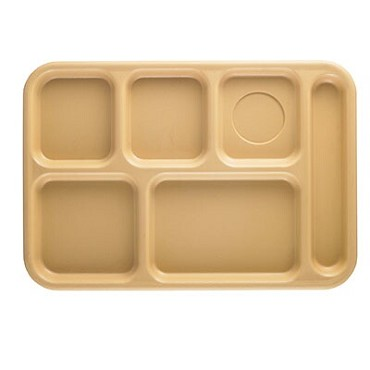 "Cambro BCT1014161 - School Tray, 6-compartment, 10"" x 14-1/2"", ABS, tan, (Case of 24)"