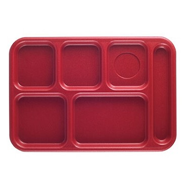 "Cambro BCT1014163 - School Tray, 6-compartment, 10"" x 14-1/2"", ABS, red, (Case of 24)"