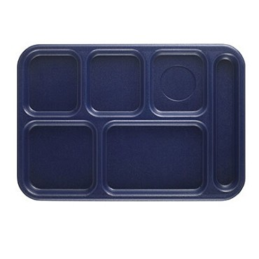 "Cambro BCT1014186 - School Tray, 6-compartment,  10"" x 14-1/2"", ABS, navy blue, (Case of 24)"