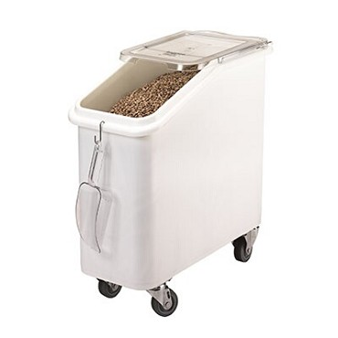 Cambro IBS20148 - Ingredient Bin, mobile, 21 gallon, sliding cover, (4) casters, white with clear cover