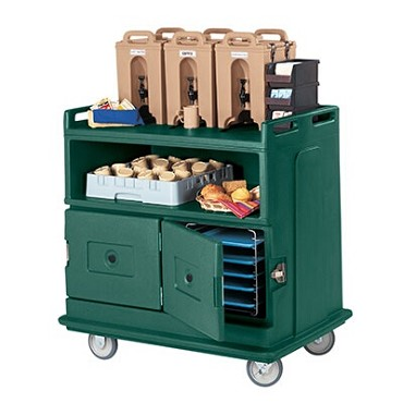 "Cambro MDC24192 - Beverage Service Cart, recessed top, 44""L x 30""W x 44""H, granite green"