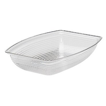 "Cambro RSB1014CW135 - Bowl, 5 qt., 10-3/4"" x 14-9/16"", rectangular, ribbed, clear, (Case of 4)"