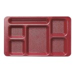 Cambro 1596CW416 Penny Saver - 6 Compartment Serving Tray in Cranberry (Case of 24)