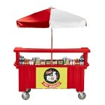 Cambro CVC724158 - Vending Cart, 4 Wells, Hot Red with Umbrella