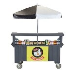 Cambro CVC724191 - Vending Cart, 4 Wells, Gray with Umbrella