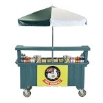 Cambro CVC724192 - Vending Cart, 4 Wells, Green with Umbrella