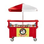 Cambro CVC72158 - Vending Cart, 3 Wells, Hot Red with Umbrella