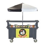 Cambro CVC72191 - Vending Cart, 3 Wells, Gray with Umbrella
