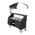 Cambro CVC724110 - Vending Cart, 4 Wells, Black with Umbrella