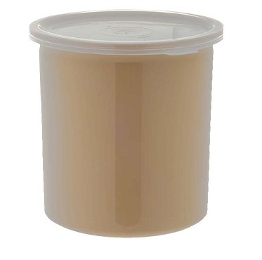 Carlisle 34106 - Poly-Tuf Crock, 1.2 qt., translucent snap-on lid, glossy finish, beige, (Case of 12)
