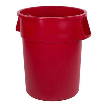 "Carlisle 34105505 - Waste Container, 55 gallon, 33""H x 26-1/2"" dia., round, red, (Case of 2)"