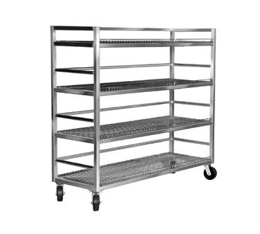 "Channel MC2472-4 - Flight Cart/Mobile Shelf Truck, 72""H, 4 plated wire shelves"