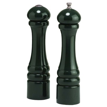 Chef Specialties 10800 - Forest Green Tempered Steel Pepper Mill & Salt Shaker Set, 10 in.