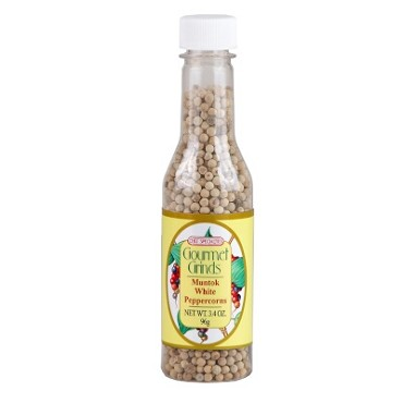 "Chef Specialties 503 - Muntok White Peppercorns, 3.4 oz., 6-1/2""H PET bottle"