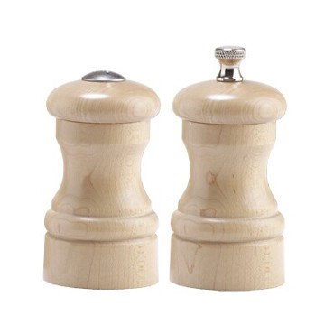 "Chef Specialties 4300 - Capstan Salt Shaker/Pepper Mill Set, 4"" high, natural finish"