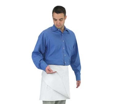 "John Ritzenthaler 603FW - Four-Way Apron, 34"" x 17"", blended poly/cotton fabric, no pockets, white"