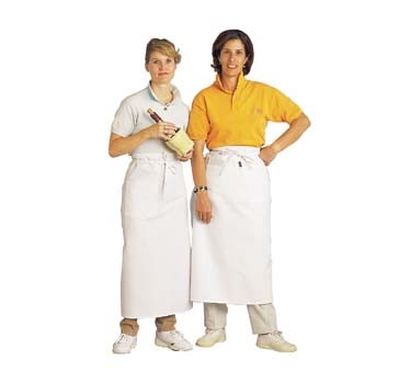 "John Ritzenthaler 607BA - Bistro Apron, 33"" x 30"", side pocket, extra long self-ties, white"