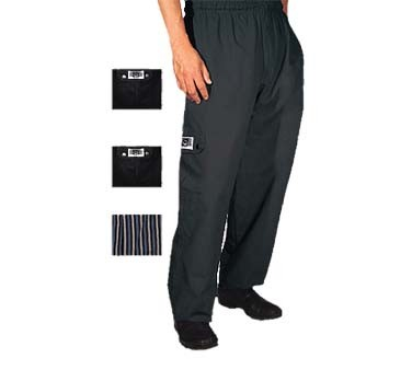 John Ritzenthaler P024BK-XL - Cargo Chef's Pants, X-large, 6 pocket, black