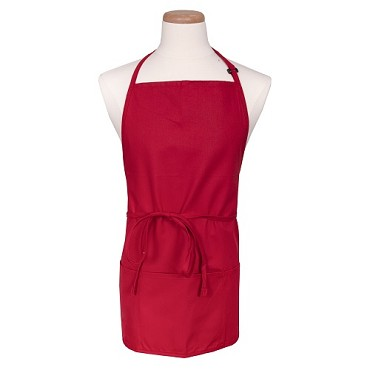 "John Ritzenthaler 612BAFH-RD - Bib Apron, 28"" x 27"", 3 pockets, adjustable neckband, red"