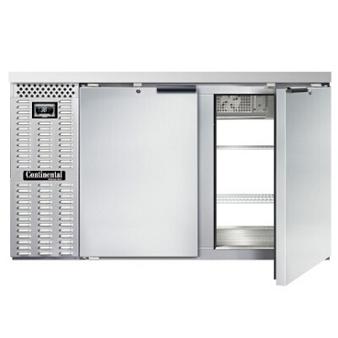 "Continental Refrigerator BB59NSSPT - Back Bar Cooler, pass-thru, 59""W, (4) doors, stainless steel"