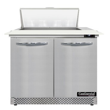 "Continental Refrigerator D36N8C-FB - Sandwich Unit, 36""W, two-section, (2) doors"