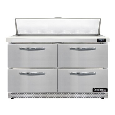 "Continental Refrigerator D48N12-FB-D - Sandwich Unit, 48""W, two-section, (4) drawers"