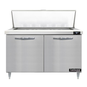 "Continental Refrigerator D48N18M - Mighty Top Sandwich Unit, 48""W, two-section, (2) doors"
