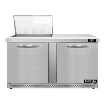 "Continental Refrigerator D60N12M-FB - Mighty Top Sandwich Unit, 60""W, two-section, (2) doors"
