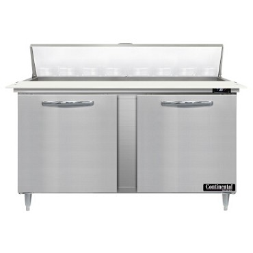 "Continental Refrigerator D60N16C - Sandwich Unit, 60""W, two-section, (2) doors"