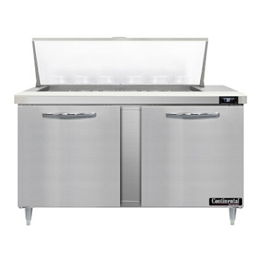 "Continental Refrigerator D60N18M - Mighty Top Sandwich Unit, 60""W, two-section, (2) doors"