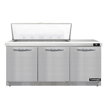 "Continental Refrigerator D72N18M-FB - Mighty Top Sandwich Unit, 72""W, three-section, (3) doors"