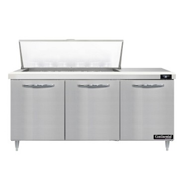 "Continental Refrigerator D72N18M - Mighty Top Sandwich Unit, 72""W, three-section, (3) doors"