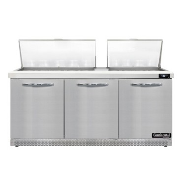 "Continental Refrigerator D72N27M-FB - Mighty Top Sandwich Unit, 72""W, three-section, (3) doors"