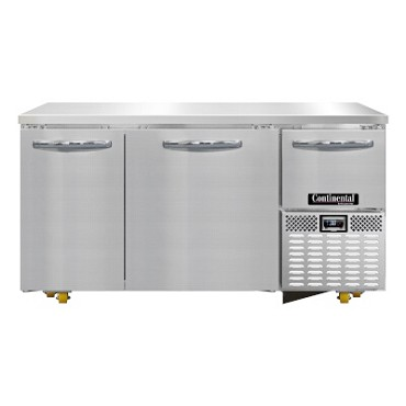 "Continental Refrigerator RA60N-U - Chef Base, 60""W, (2) full & (1) half height doors"