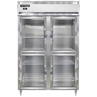 Continental Refrigerator D2RNSAGDHD - Reach-In Refrigerator, two-section, half glass doors