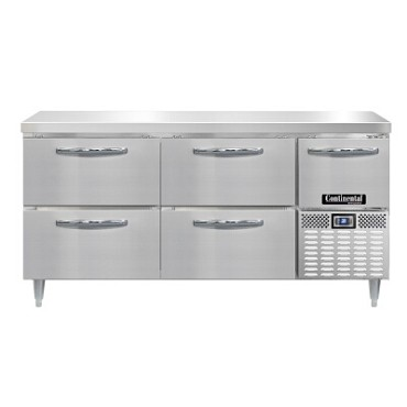 "Continental Refrigerator DRA68NSS-D - Worktop Refrigerator, 68""W, (4) drawers & (1) half doors"